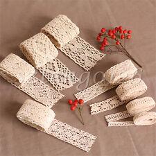 5M Ivory Vintage Embroidered Cotton Crochet Lace Edge Trim Ribbon Wedding Craft