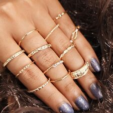 12 Pcs/Set Fashion Women Gold Plated Above Knuckle Finger Ring Band Midi Rings
