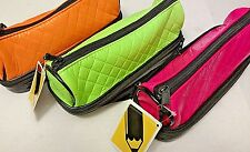 Double Decker Zippered Vinyl Pencil Pouch Neon Pink Green & Orange Set of 3