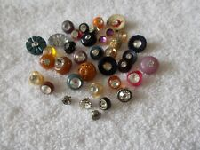 Super Lot Of 37 Vintage Rhinestone Sewing Buttons
