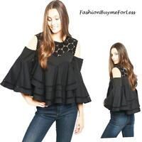 Black BOHO Open Cold Shoulder Bell Sleeve Haute Lace Ruffle Blouse Top S M L XL