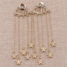 Moon Star Dangle Earrings Long Chain Tassel Pendant Earring Ear Drop Wedding