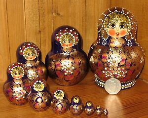 PURPLE GOLD Russian Nesting Dolls Babushka Matryoshka Genuine Aymasova signed 10