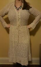 Vintage 70s 1970s PALLAS Irish Linen Hand Loomed Creme Beige Boho Hippie Dress M