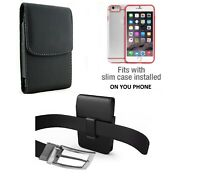 Vertical Leather Swivel Belt Clip Case Holster For iPhone Samsung & other Phones