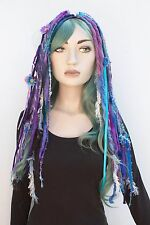 Flower Wool Dread Hair Falls Purple Hair Extensions Gothic Indie Goth Psytrance