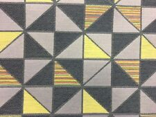 DESIGNER Geometric Grey & Yellow Upholstery Curtain Fabric Material