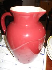LE CREUSET STONEWARE PITCHER BURGUNDY 8 3/4 Tall CREAM COLOR INSIDE