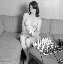 1960s Busty Pinup Nude sitting playing chess 8 x 8 Photograph