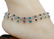 CZMS - Bollywood Designer CZ Silver Tone Indian Anklets Payal - 1 Pair ( 2 Pcs )