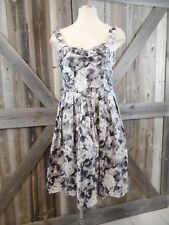 NEW TALBOTS Women's 4P Gray Floral Sleeveless Cotton Blend Fit & Flare Dress