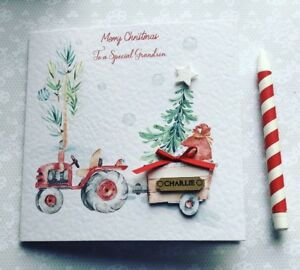 Personalised Christmas Tractor Boys Card Handmade Grandson Son Brother Nephew