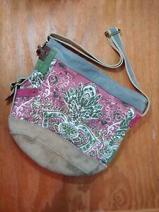 Lucky Brand Paisley Canvas Bag Tote Blue Cow Hide Leather Trim Broken Zipper