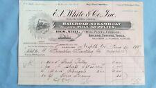 1907 White & Company Railroad Steamship & Mill Supplies Billhead-Norfolk Va.
