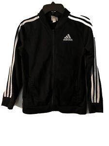 Adidas boys 14/16 xl black and white full zip up sweatshirt