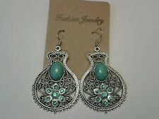 Tibetan Silver with Turquoise Inlay Earrings