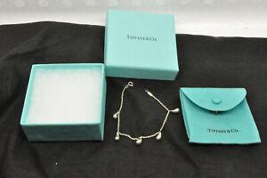 """Tiffany Elsa Peretti 5 Teardrop Bracelet Sterling Silver 7"""""""