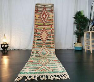 Moroccan Boujad Vintage Handmade Runner 2x11 Striped Berber Beige Red Green Rug