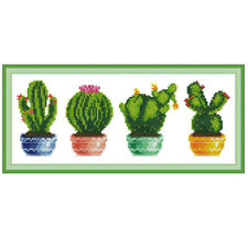Cactus DIY Handmade Needlework Counted 14CT Printed Cross Stitch Embroidery Kit