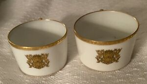 2 Porcelain Coffee/Tea Cups- White with Gold border and Gold Griffin Crest