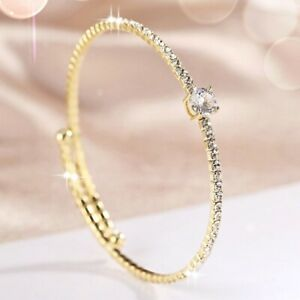 18K Yellow Gold Filled Simulated Diamond Channel-Set Sparkling Stretch Bangle