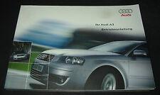 Betriebsanleitung Audi A3 Typ 8P Quattro + Frontantrieb Benzin + Diesel 06/2003