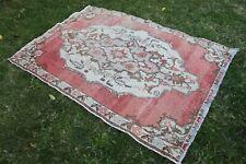 """Vintage Turkish Handmade Oushak Nursery Area Rug 5'10""""x4'"""