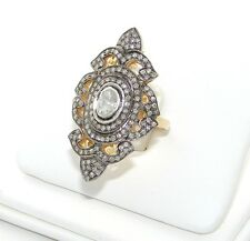ROSE DIAMOND COCKTAIL CLUSTER RING VICTORIAN TYPE 1.46 CT REDUCED