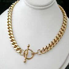 """LADIES 18"""" FOB CLASP 7mm Rounded CURB Link 14K GOLD GL Necklace +LIFE GUAR"""