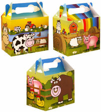 6 Farm Party Boxes - Toy Loot Lunch Cardboard Gift Wedding/Kids