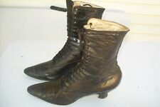 New listing Antique Vintage Victorian Women Lace Up Stacked Heel High Top Leather Boots