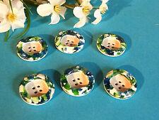 "1034/Charming Buttons "" Tutti Frutti "" Blue Green White Lot 6 Buttons Ép. 1950"