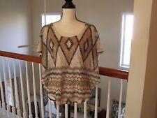 Body Central Women's Knit Top Multi Color Diamond Pattern Short Sleeve NWOT