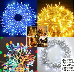 Mains Plug In Fairy Lights Outdoor Garden Christmas Tree LED Party String Lights