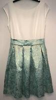 Closet Prairie Rose Jacquard Womens Dress Size 14 White/Mint