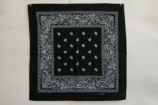 "Wholesale Lot 12 (1 Dozen) 22""x22"" Paisley Black Bandana"