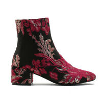 Womens Zip Up Embroidered Rounded Toe Ankle Boots In Pink & Gold Floral UK 3-8