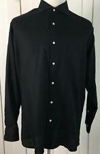 Isaac Mizrahi Men's Shirt Black Slim Fit Button Down Long Sleeve Size 17 34/35