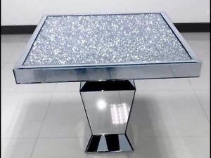 Diamond Crush Silver/Mirror Dining Table 90cm x 90cm
