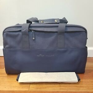 New Peter Millar Sport Crown Seal Navy Blue Leather Canvas Duffel Bag AS19EA100