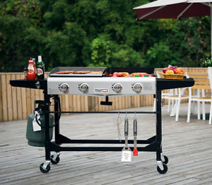 Griddle Combo Flat Top + Grill Portable Outdoor BBQ 4 Burners Wheels Folding New