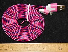 Magenta Braided 6FT Charging Cable for IPhone 5, 5S, 6, or 6+.Buy It Now Special
