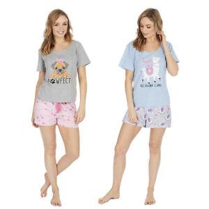 Ladies Shorty Pyjamas Ladies Cotton Short Sleeve Set Nightwear Pjs Loungewear