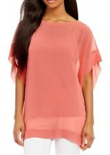NWT Eileen Fisher Sheer Silk Georgette 2 Piece Coral Top/Shirt- Size XS