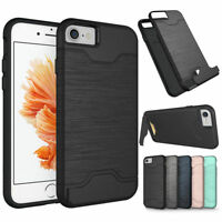 For iPhone 7 8 Plus Slim Credit Card Holder Hybrid Hard Kickstand Case Cover