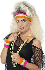 Ladies Mens Neon 80s Sweatband Fancy Dress Kit Headband 2x Wristbands Eighties
