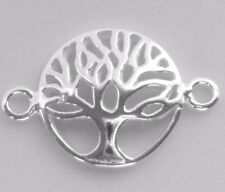 925 Sterling Silver Domed Tree of Life Connector Charm Spacer Findings 12mm