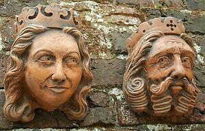 Stone Wall Art, Garden Sculpture, King & Queen Corbels, Aged Terracotta finish