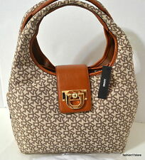 DKNY HERITAGE-T&C W/ VINTAGE Leather  Hobo Bag Purse New