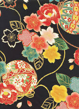 TEMARI BALLS: Ebony/Gold Metallic Asian Japanese Quilt Fabric - 1/2 Yd.